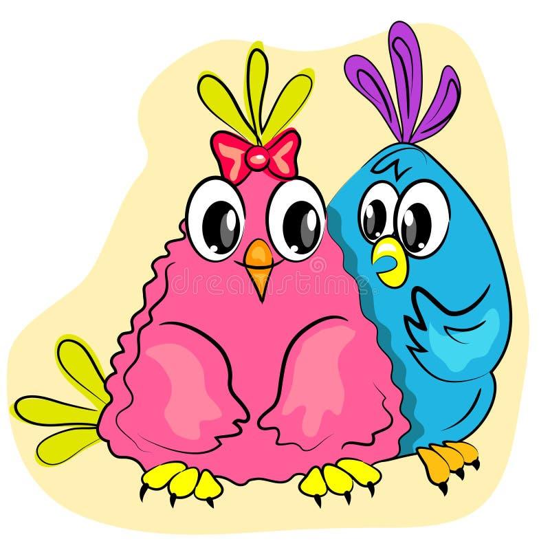 dag l romantikervalentiner för fågelkortpar royaltyfri illustrationer