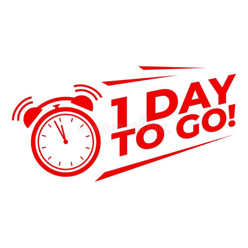 1 dag om met wekker, de aftelprocedure van de Verkooppromotiecampagne te gaan stock illustratie