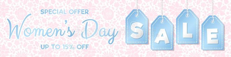 Dag Sale - glansigt panorama- baner för kvinna` s med den blom- modellen arkivbild