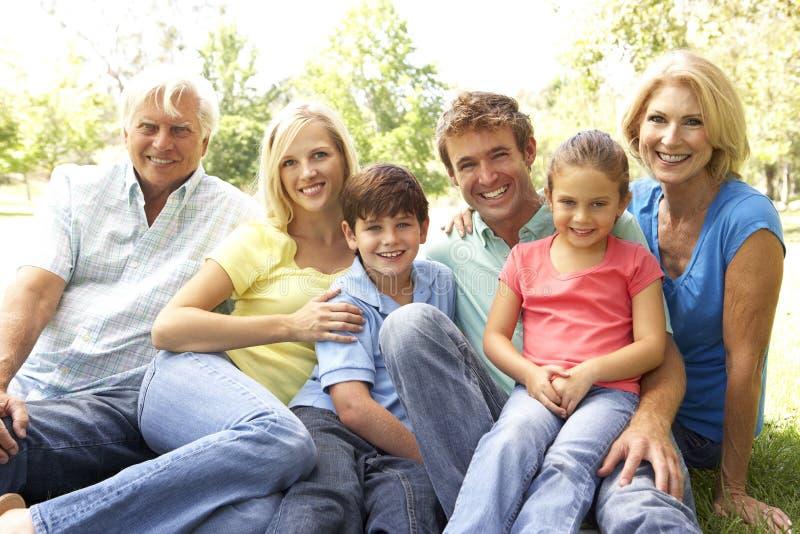 dag som tycker om familjparken royaltyfri bild