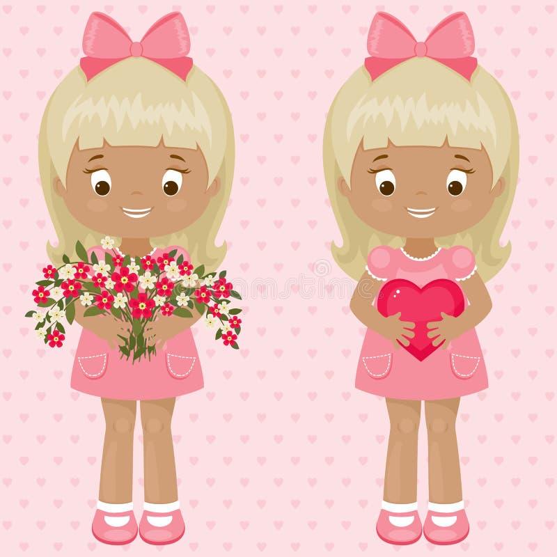Dag twee van Valentine meisjes met boeket van bloemen en hart stock illustratie