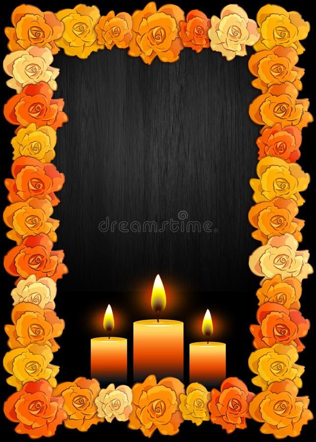 Dag van de dode affiche met traditionele cempasuchilbloemen die voor altaren en kaarsen worden gebruikt stock illustratie