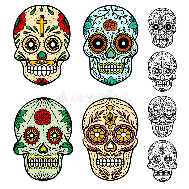 Dag van de dode schedels vector illustratie