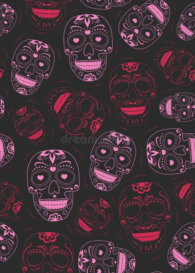 Dag van de Dode suikerschedel met bloemenornament en bloem naadloos patroon op zwarte achtergrond Halloween-Schedelpatroon royalty-vrije illustratie