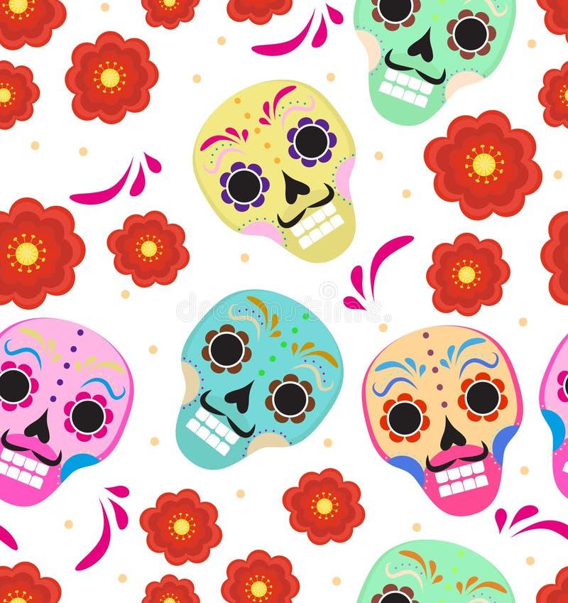 Dag van de dode vakantie in het naadloze patroon van Mexico met suikerschedels Skelet eindeloze achtergrond Dia DE Muertos vector illustratie