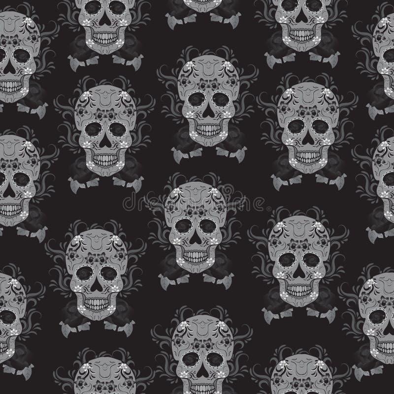 Dag van de Dode viering, een festival in Mexico Het naadloze patroon van Sugar Skull, skeletachtergrond, textuur, behang royalty-vrije illustratie