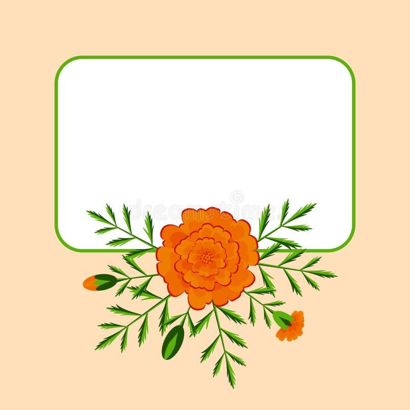 Dag van de Doden Concept de nationale Mexicaanse vakantie Plaats voor tekst Goudsbloemen - bloemen, bladeren, knoppen vector illustratie