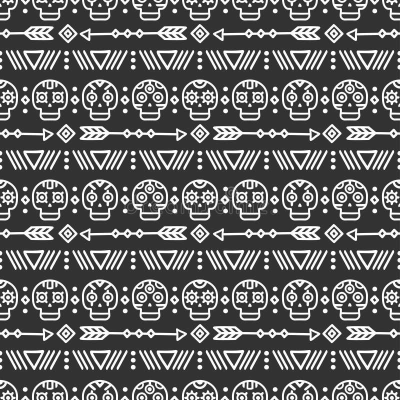 Dag van de Doden Stammenhand getrokken lijn Mexicaans etnisch naadloos patroon Grens Verpakkend document af:drukken doodles tilin stock illustratie