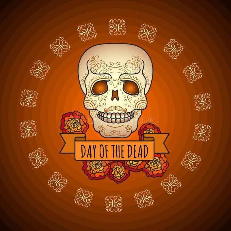 Dag van de Doden suikerschedel, en goudsbloem stock illustratie