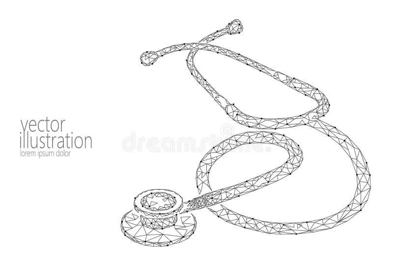 Dag van de de gezondheidszorgwereld van de geneeskundestethoscoop de lage poly Het veelhoekige 3D model medische wetenschapsonder royalty-vrije illustratie