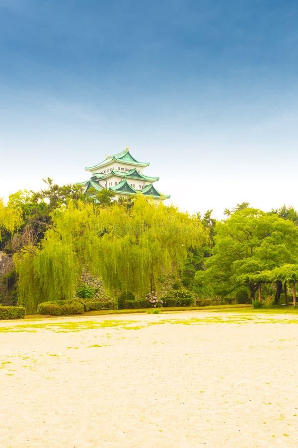 Dag van de het Kasteel de Duidelijke Blauwe Hemel van Nagoya boven Treeline V royalty-vrije stock foto's