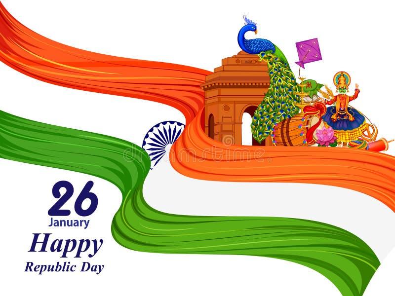 26 Dag van de Republiek van Januari de Gelukkige van de achtergrond van India royalty-vrije illustratie