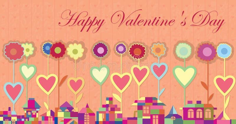 Dag van de Valentijnskaarten van de kaart van de groet de Gelukkige stock illustratie