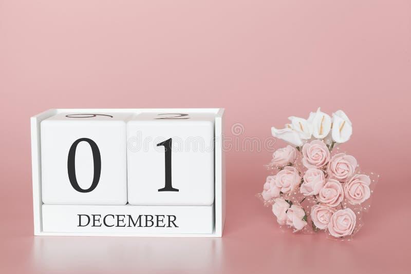01 Dag 1 van december van maand Kalenderkubus op moderne roze achtergrond, concept zaken en een belangrijke gebeurtenis stock afbeelding