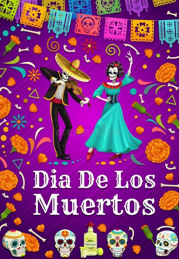Dag van Doden in Mexico, dansende vrouwenman skeletten royalty-vrije illustratie