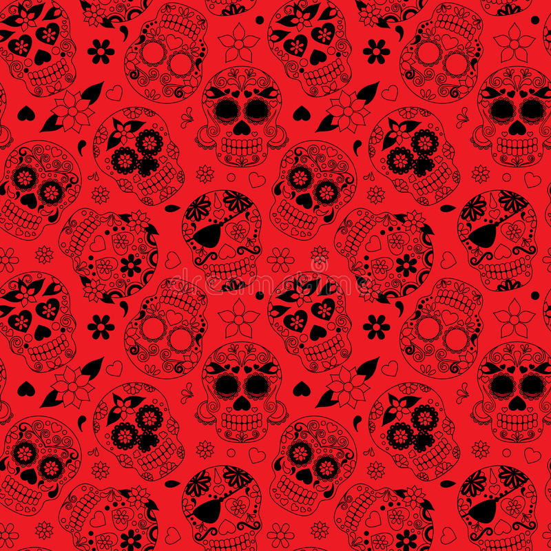 Dag van Dood Sugar Skull Seamless Vector Background royalty-vrije illustratie