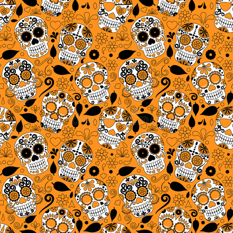 Dag van Dood Sugar Skull Seamless Vector Background vector illustratie