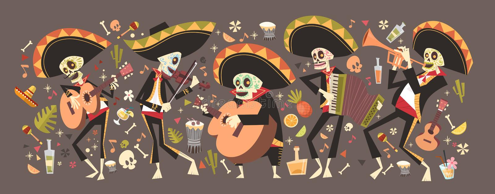 Dag van Dood Traditioneel Mexicaans Halloween Dia De Los Muertos Holiday stock illustratie