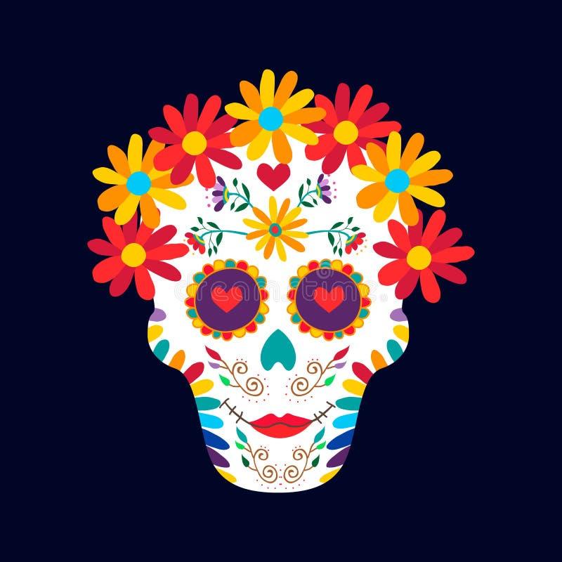 Dag van het dode van de de suikerschedel van Mexico de decoratieart. stock illustratie