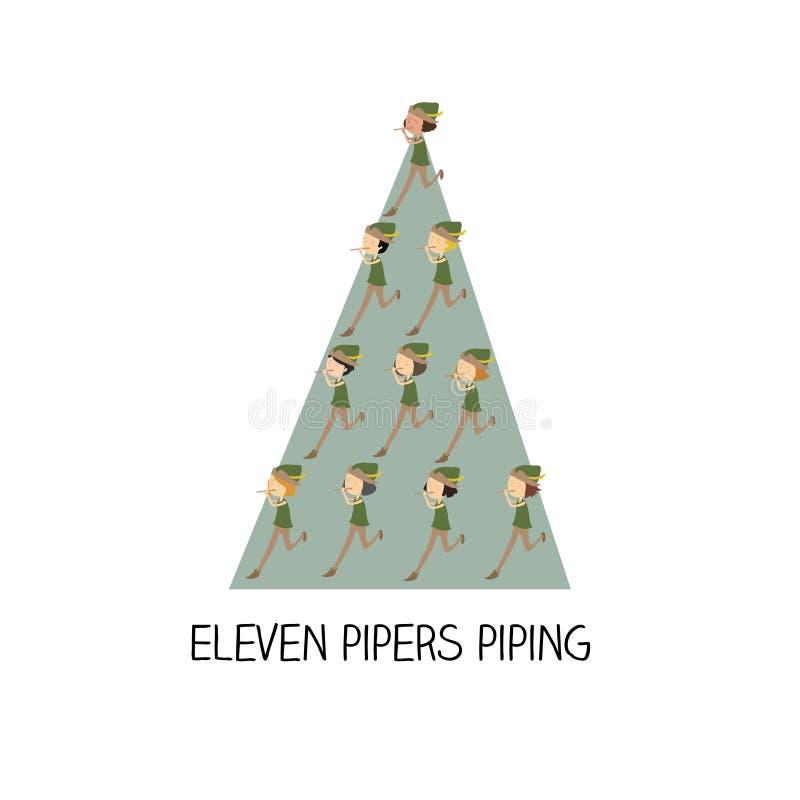 dag 12 van Kerstmis - elf pijpers het door buizen leiden vector illustratie