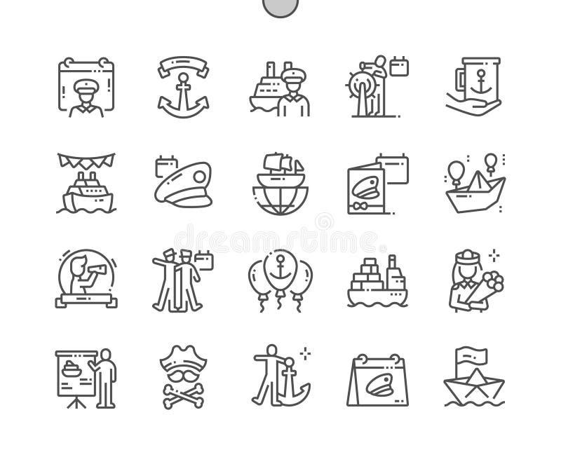 Dag van Zeevaarder goed-Bewerkte Pictogrammen 30 van de Pixel Perfecte Vector Dunne Lijn 2x-Net voor Webgrafiek en Apps royalty-vrije illustratie