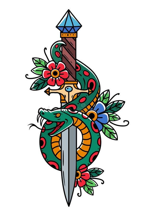 Daga del tatuaje del vector con la serpiente Daga adornada con zafiro azul grande Abrigos de la serpiente alrededor de la daga or stock de ilustración
