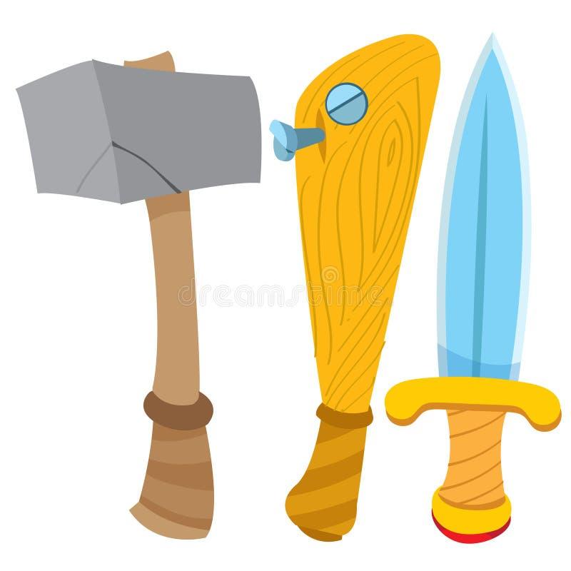 Daga, martillo y bate de béisbol Dibujo de la historieta para las aplicaciones móviles del juego libre illustration