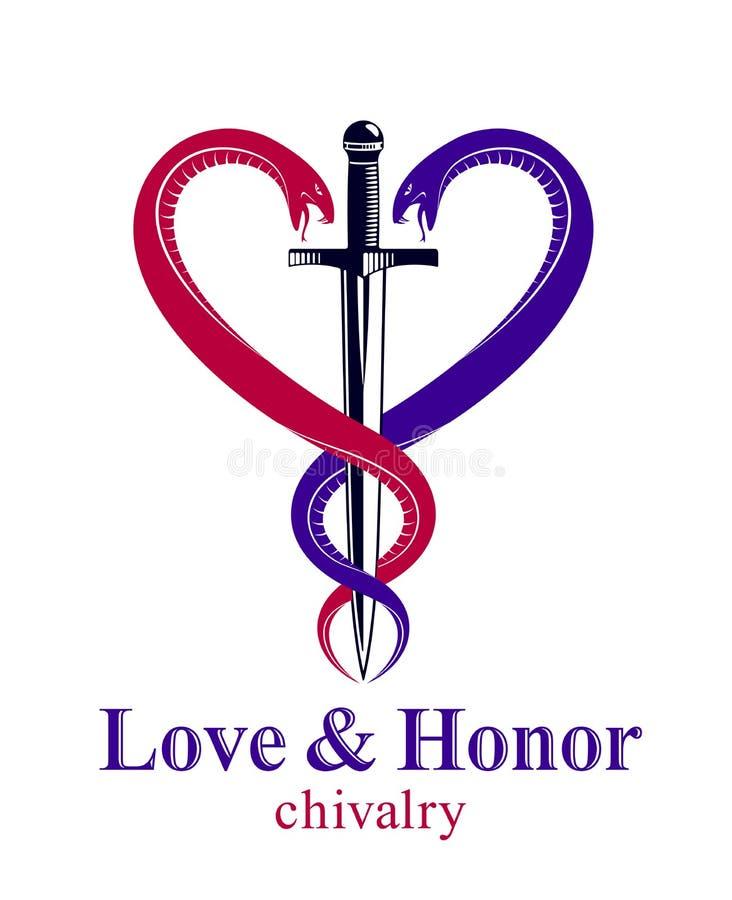 Daga y dos serpientes en una forma del emblema o del logotipo del estilo del vintage del vector del coraz?n, amor y el concepto d ilustración del vector