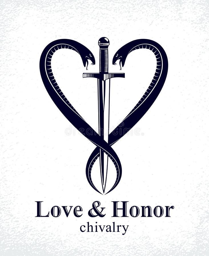 Daga y dos serpientes en una forma del emblema o del logotipo del estilo del vintage del vector del coraz?n, amor y el concepto d libre illustration