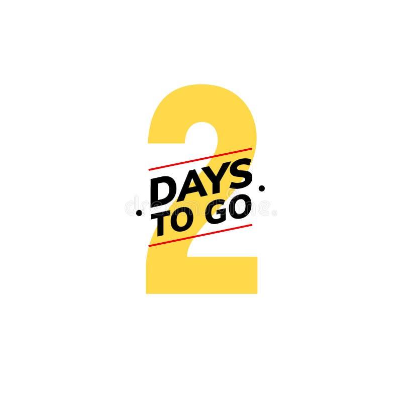 2 dagar som går sista nedräkningsymbol Två - dagen går tidmätaren för avtalet för promoen för erbjudandet för försäljningspriset, royaltyfri illustrationer