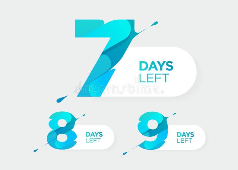 7 8, 9 dagar vänstersida Futuristiska nummer för vektor Stång för Sale nedräkningtidmätare Datumemblem för befordran, sista Sale vektor illustrationer