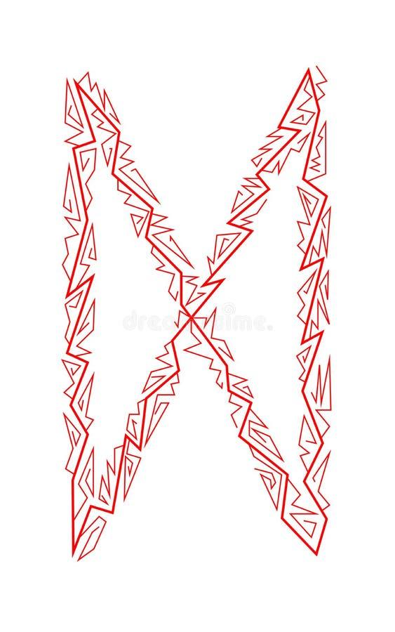 Dagaz Rune. Ancient Scandinavian runes. Runes senior futarka. Magic, ceremonies, religious symbols. Predictions and amulets. White background and red ornament royalty free illustration
