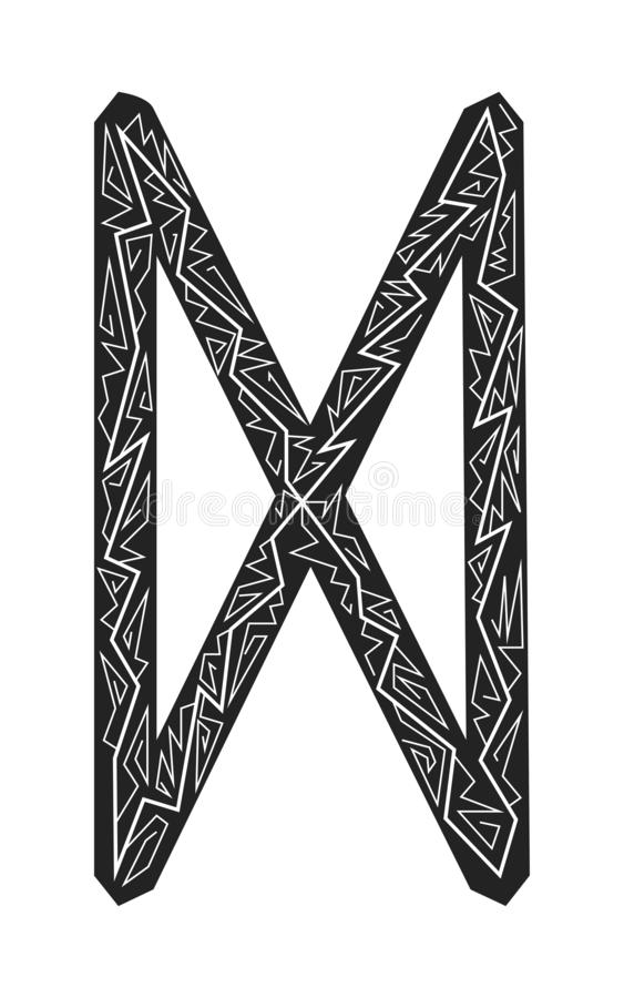 Dagaz Rune. Ancient Scandinavian runes. Runes senior futarka. Magic, ceremonies, religious symbols. Predictions and amulets. Ornament lightning. White stock illustration