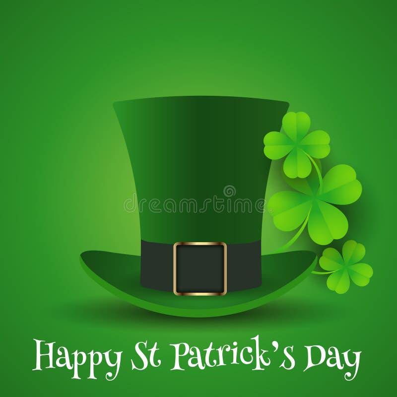 Dagbakgrund för St Patricks med den bästa hatten och treklövern royaltyfri illustrationer