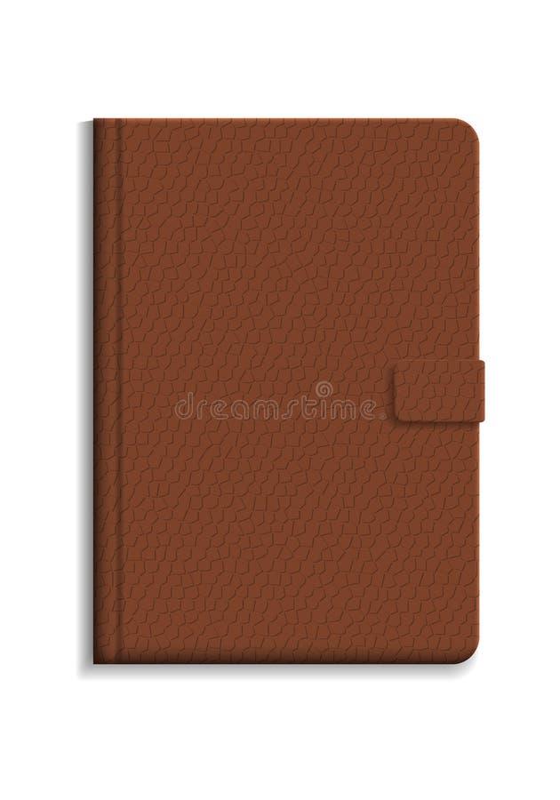 Dagbok eller anteckningsbok i hård räkning med lädertextur stock illustrationer