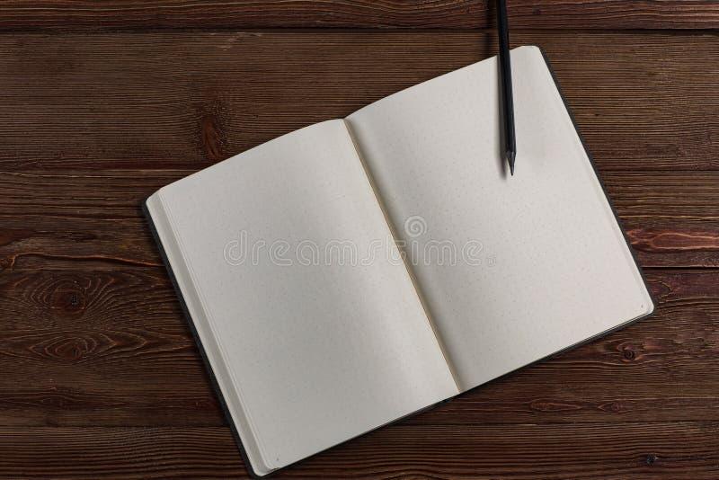Dagbok med en blyertspenna royaltyfria bilder