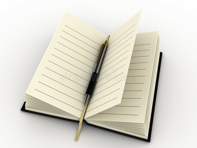 dagbokpenna vektor illustrationer