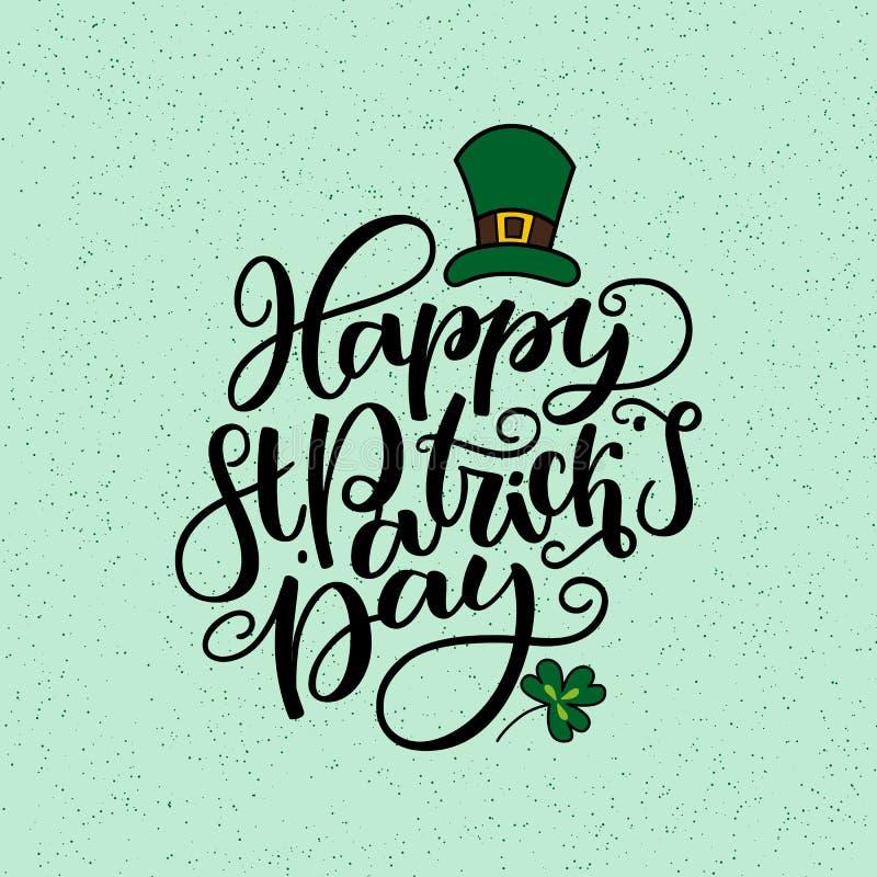 Dagbokstäver för St Patricks Vektorferieaffisch Isolerat tecken på grön bakgrund Utmärkt för hälsningkort, affisch royaltyfri illustrationer