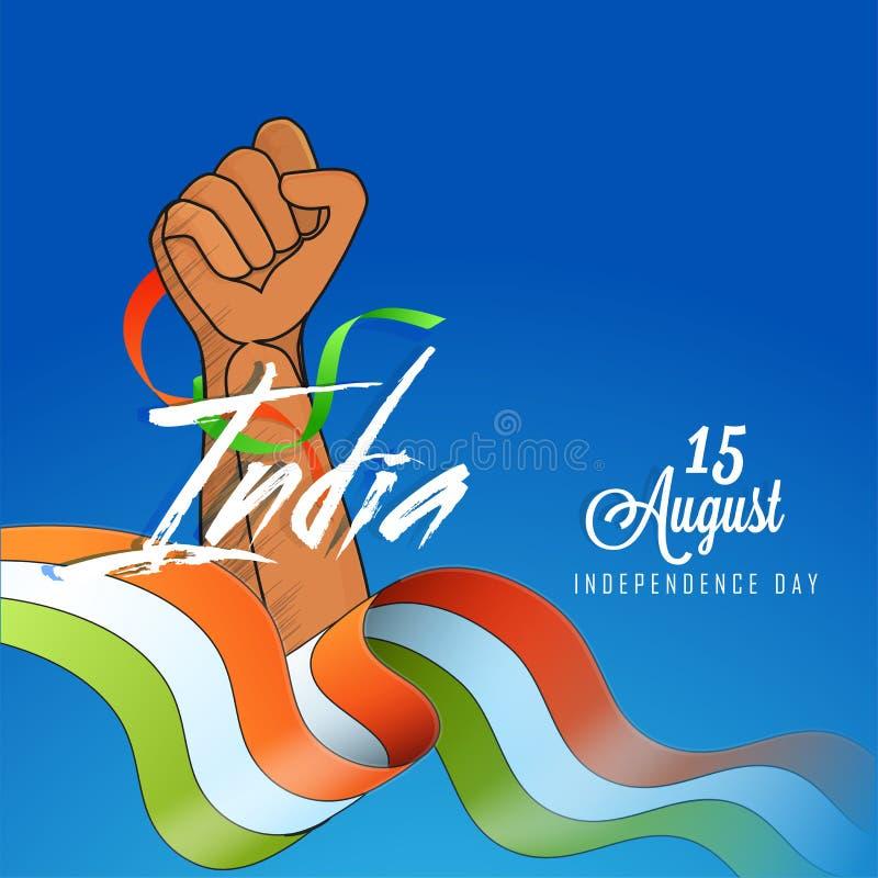 Dagdesign för 15 August Independence med illustrationen av stängd fi royaltyfri illustrationer