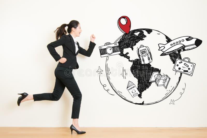 Dagdrömma för kvinna som körs för att resa flykt från arbete stock illustrationer