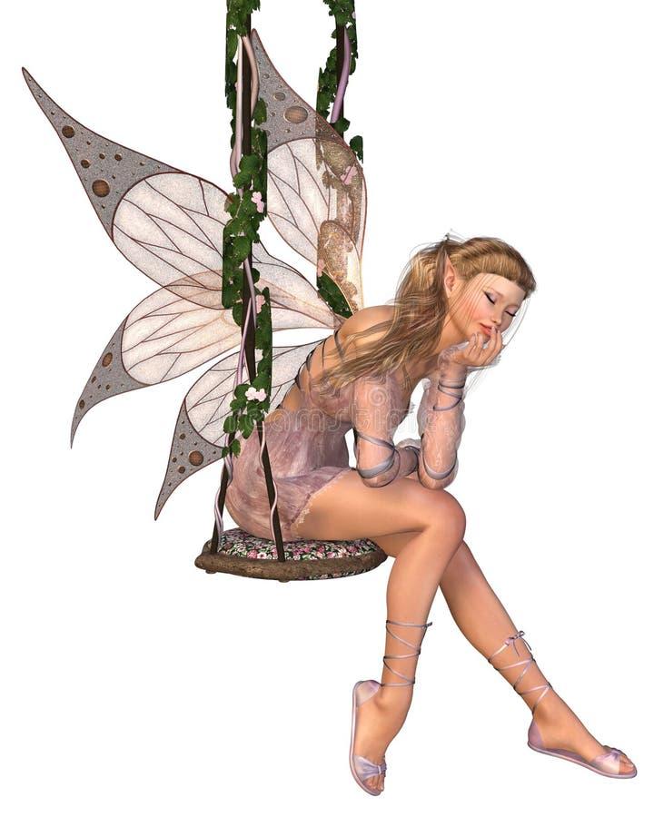 dagdrömma felik rosa nätt swing stock illustrationer