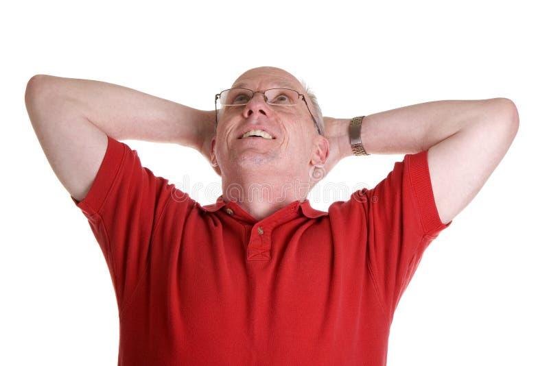 dagdrömma gammal röd skjorta för grabb royaltyfria foton