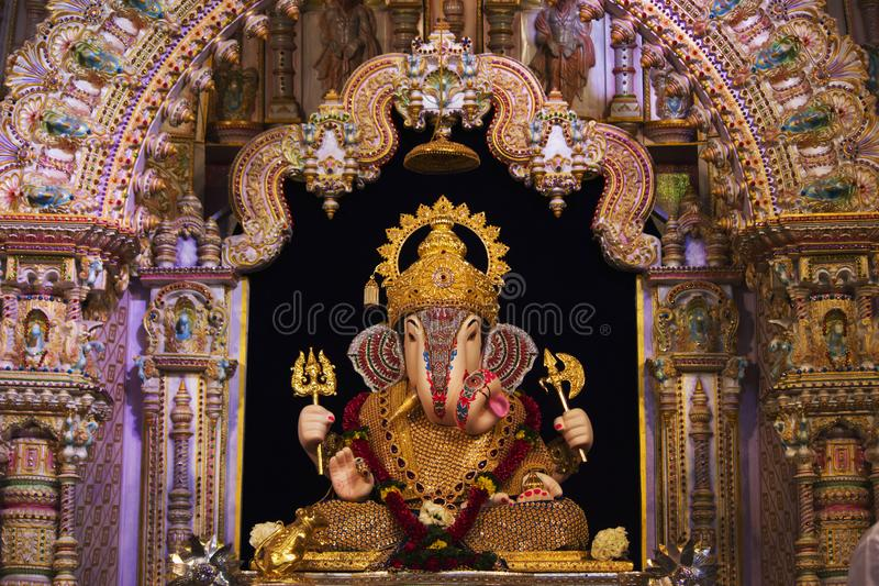 Dagdusheth Halwai Ganpati, район Пуна, махарастра, Индия стоковые изображения rf