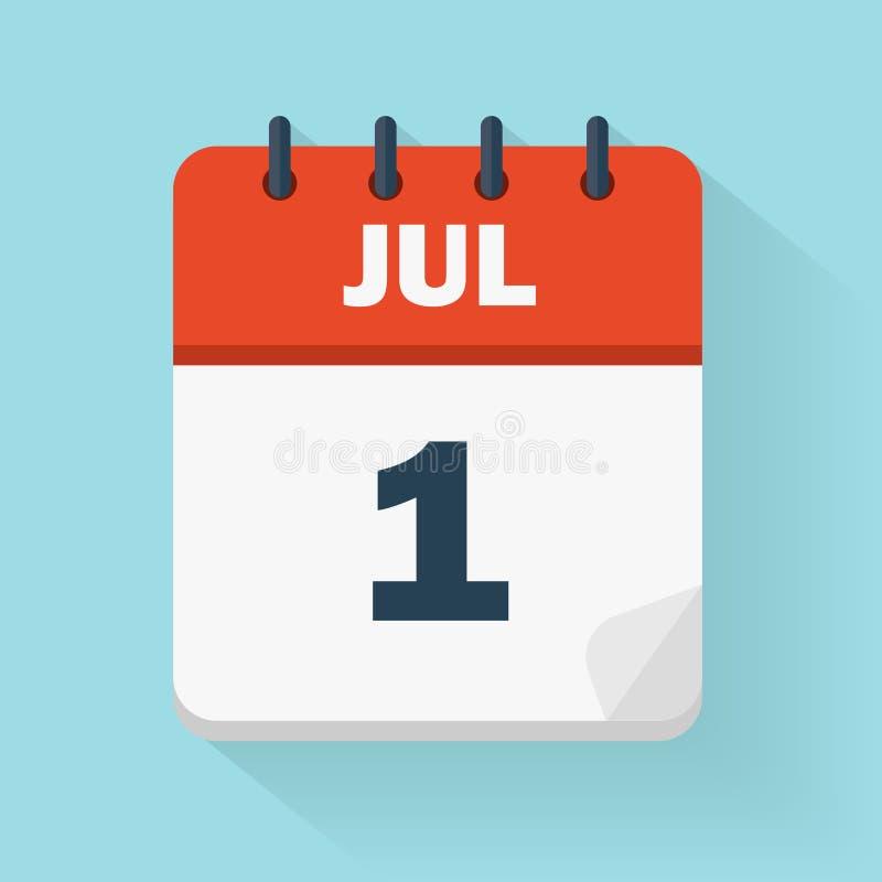1 Dagelijks de kalenderpictogram van juli in vectorformaat royalty-vrije illustratie