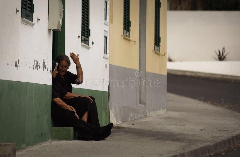 Dagelijks levend in kleine stad op Sao Miguel, de Azoren, Portugal stock afbeelding