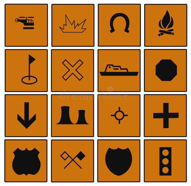 Dagelijkse Symbolen die door Vierkanten worden gegrenst stock illustratie