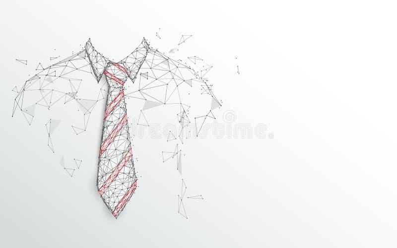 dagen avlar lyckligt Slips och vit skjorta på vit bakgrund Abstrakta linjer, trianglar och partikelstildesign vektor illustrationer