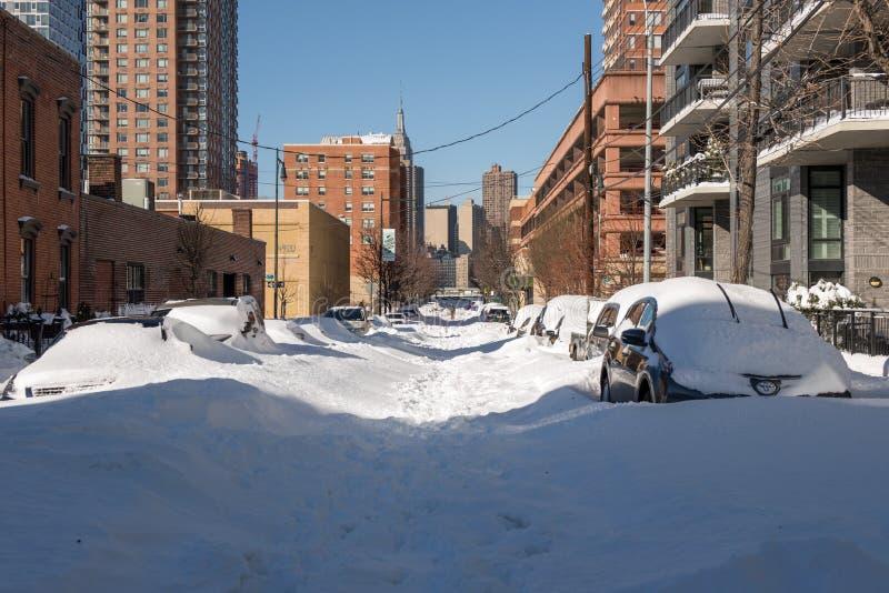 Dagen efter den största snöstormen i New York arkivfoto