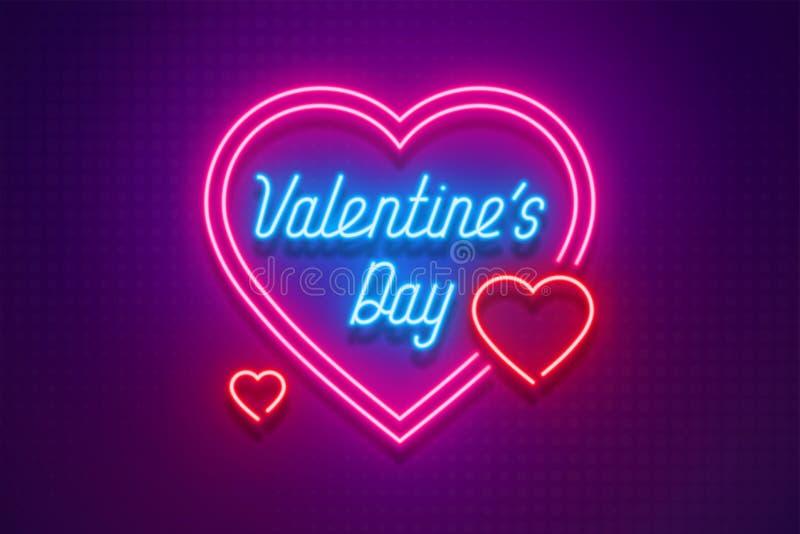 Dagen för ` s för valentin för neonljus älskar jag dig kortet royaltyfri illustrationer