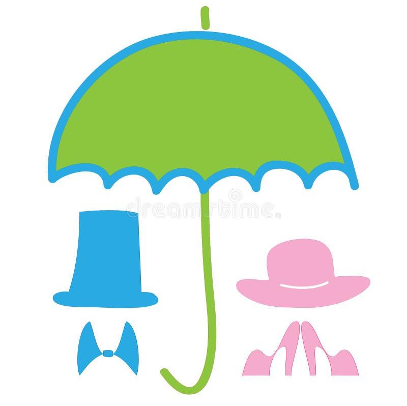 Dagen för världsmiljön, jordparaply skyddar kvinnligt och manligt, vektor stock illustrationer
